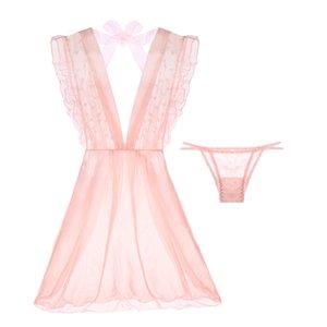 yomrzl A535 Nuovo arrivo garza estiva da donna camicia da notte rosa dot indumenti da notte dolce sexy vestito slee sext