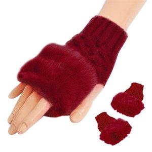 الصوف مزيج فو الأرنب الفراء النساء أصابع قفازات 2017 الأزياء محبوك الشتاء قفازات دافئة ياقة القفازات غانتس فام دفئا D18110806