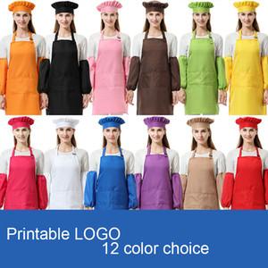 3pcs / set adultes polyester unisexe cuisine Waists adulte Tabliers avec SleeveChef Chapeaux pour la peinture de cuisine cuisson 12 couleurs DHL