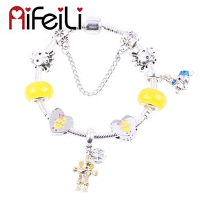 AIFEILI Cute Yellow Chicken Heart Beads Scarecrow Pendant DIY Fit Women Bracelet Jewelry European Charm