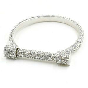 Nouveau Design De Luxe De Mariage Autrichien En U En Cristal Complet Bracelets Femmes Horseshoe Charme Argent Strass Bracelets Bracelets De Mode Bijoux