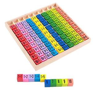 Tabla de multiplicación Juguetes Matemáticos 10x10 Doble Lado Patrón Impreso Tablero Colorido Figura de Madera Niños Juguetes Educativos CCA9496 60pcs