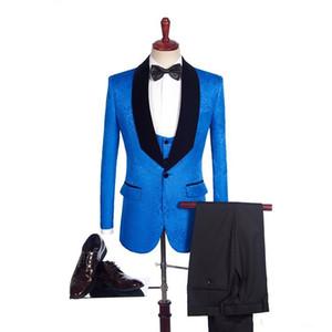 Royal Blue Paisley Men Wedding Tuxedos Black Velvet Lapel Side Vent Groom Tuxedos Men Dinner Darty Dress 3 Piece Suit(Jacket+Pants+Tie+Vest)