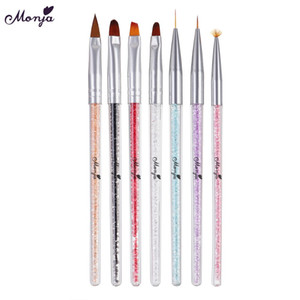 Cheap Nail Brushes Monja 7 Styles Rhinestone Acrylic Handle Brushes Nail Art Line Flower Painting Coating Shaping Flat Fan Angle Pen