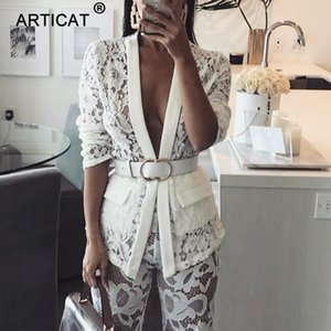 Articat выдалбливают сексуальные женские топы и блузки с длинным рукавом с кружевной вышивкой с V-образным вырезом рубашки блузки женские белые осенние повседневные топы