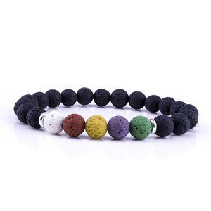 8 MM Natural Lava Rock Stone Beads Chakra Pulsera Colorida Piedra Volcánica Aromaterapia Aceite Esencial Difusor Pulsera Joyería para las mujeres