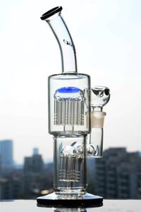 11 pouces TORO Glass Bongs à double bras en ligne percer le barboteur en verre solide rigole de forage pour eau solide avec joint de 18 mm