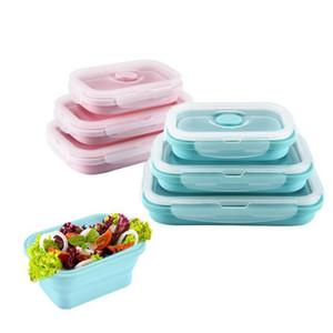 Katlanabilir Silikon Öğle Yemeği Kutusu Set Meyve Gıda Piknik Saklama Kutuları Konteyner Mutfak Mikrodalga Okul Bento QW8420