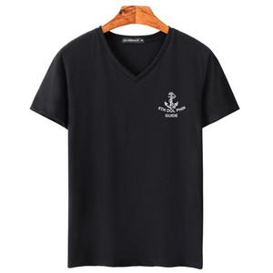 2018 Лето уличная Париж вентилятор мода высокое качество Письмо печати хлопок V шеи футболка мужчины Tee футболка