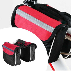 3 Colors Bike Bicycle Frame Pannier Cycling Front Tube Frame Bag Waterproof Double Bags With Phone Holder Bicycle Accessories