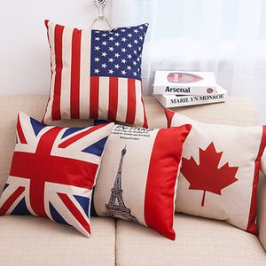 45x45cm New English Usa Taie d'oreiller Coussin Case Country Français Drapeau Paris Taies d'oreiller Canapé 18X18 Cotton Lin Lumbar Support Almofada