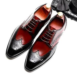 Summer Designer Man Wedding Brogue Shoes Genuine Leather Carved Oxfords Round Toe Breathable Men's Formal Dress Footwear