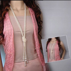 Fashion Freshwater Pearl White Drop Pearl Necklace Beaded Long Chain Rope Bead Necklaces & Pendants Long Sweater Chain