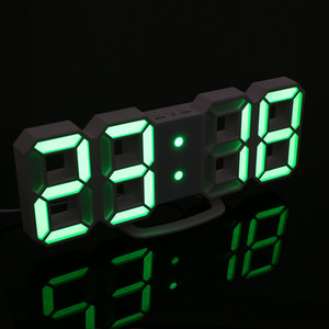 2018 Nueva Pantalla LED 3D Moderno Escritorio Digital Despertador de Pared Lámpara de Luz Nocturna Con Más Modo y Mostró Colores Diferentes