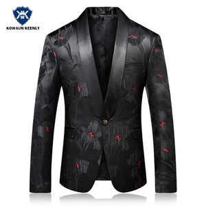 2018 Slim Fit Mens Prom fiore Blazer stampato maschile Stage Wear Casual Party Performance Jacket Singer Blazer floreale vestito nero