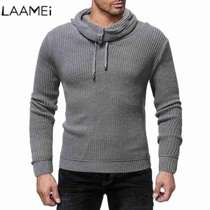 Fashion Wild Solid Color Personality High Collar Men Knit Sweaters Male Sweater Sweater Pullover For Men Thick And Warm