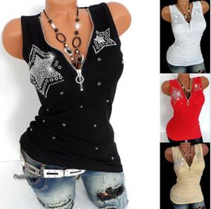 Venta caliente 2018 Moda de Verano de Las Mujeres con Cuello En V Camiseta de Impresión de Diamantes Mujeres Sin Mangas Sólido Delgado Chaleco Tank Top ropa
