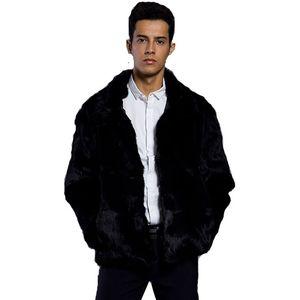 Femininos nova Imitação Rabbit Fur casaco de couro pele de raposa gola de pele lapelas longa preta dos homens casaco quente