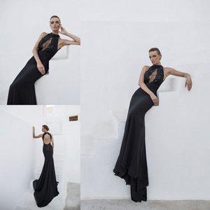 Julie Vino Mermaid Prom Dresses Halter Neck Backless Abiti da sera neri formali Appliques di cristallo Abito da festa sexy