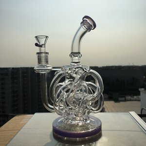 220mm Height Vortex Recycler Bong Purple Dab Rigs Water Pipes With 12 Recycler Tube 14.5mm Joint Glass Water Bongs