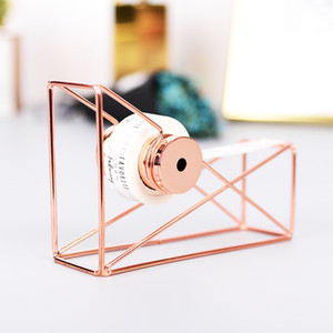 Desktop Tape Dispenser With Tape Cutter, Wire Metal, Rose Gold Tone Creative Tape Seat Holder Office School Supplies