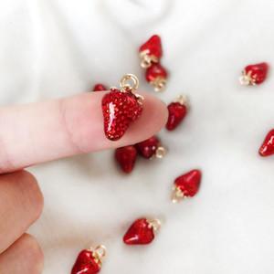 جميل قطرة النفط سحر الفراولة للنساء قلادة أساور أقراط diy صنع الملحقات اليدوية المينا الفاكهة سحر