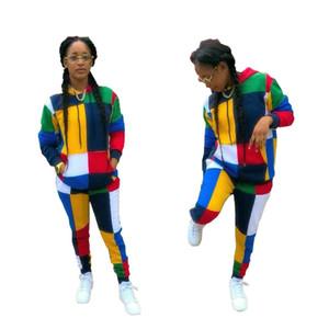 Renk Blok Eklenmiş Rahat 2 Parça Set Kadın Ön Cepler Tam Kollu Hoodies Ve Fit İnce Uzun Pantolon Sonbahar Eşofman