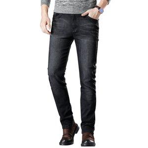 SULEE 2019 Yeni Elastik Ince Pantolon Jean Erkek Moda Rahat Kot Streç Kot Siyah Boyutu 40