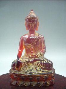 12 cm * / Exquise sculpture manuelle chinoise rare résine artificielle ambre statue de Bouddha