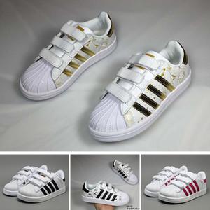 Adidas 2018 Scarpe da bambino Superstar Original White Gold bambina bambino Superstars Sneakers Originals Super Star bambina da bambino Calzatura sportiva da bambino 24-35