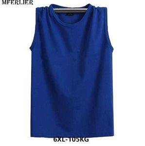 MFERLIER Fitness sudadera para hombre 6XL camisetas sin mangas 7XL sin mangas más talla 5XL algodón flojo cesta balón camisetas puerto negro gris rojo