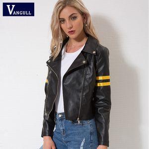 Vangull Veste en cuir 2018 Printemps Nouveau Femmes zipper moto Vêtements de ville cool Automne manteau d'hiver Femme Black Faux vestes en cuir