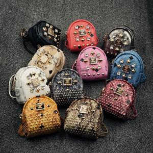 أطفال عملة وحاملات الأزياء المسامير الماس تصميم حقائب سيارة مفتاح قلادة حقيبة مع عصابة الفتيات بو الجلود بطاقة حقيبة صغيرة الكتفين حقائب 12 ألوان