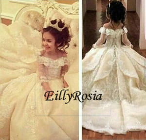 Stunning Flower Girl Dresses Special Occasion For Weddings Floor Length Kids Pageant Gowns Appliques Communion Dress Off Shoulder Sleeves