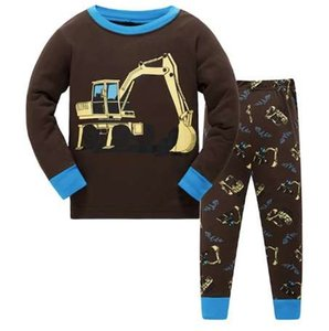 new design 100% cotton high quality boys green dinosaur pajamas pyjama kids girl flower pajamas baby clothing set