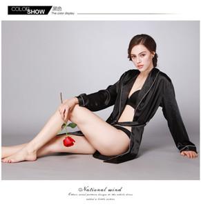 Damen Seidensatin Pyjamas Set Nachtwäsche Loungewear Plus Size Seiden Pyjamas Solid Color Nachthemd Langarm Bademäntel.