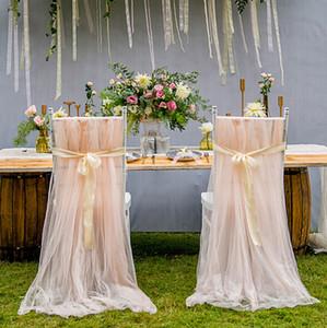 Cubiertas de la silla de tul romántico Soft Tulle silla de la cubierta Fiesta de cumpleaños Baby Shower Celebraciones decoración de la alta calidad DIY Organza cubiertas de la silla