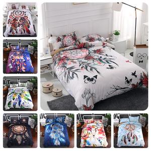 Moderne Art Dream Catcher Bettbezug Set 2 / 3pcs böhmischen Feder Schmetterling Print Bettwäsche Set mit Kissenbezug Bettdecke Set Twin Full