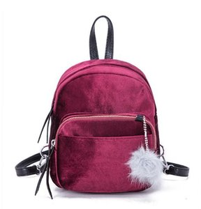 New fashion handbags velvet hair ball backpack all-match leisure travel bag, student bag tide wind