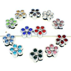 Encantos de la diapositiva 12pcs 8mm flor del Rhinestone apta DIY perro de mascota 8MM cuello Cinturones Llaveros Pulseras Etiquetas