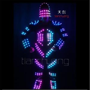 TC-129 Programa LED luzes coloridas robot stilts trajes levou cantor de festa desgaste roupas de dança de salão led dj desempenho terno luz luminosa