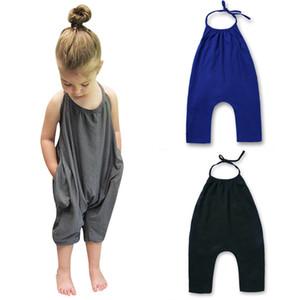 INS Sarouel New Summer Mode Bébé Filles Vêtements Ensemble Une Pièce Pantalon Sans Manches Sunsuit Enfants Enfants Jumpsuit Costumes Ensemble