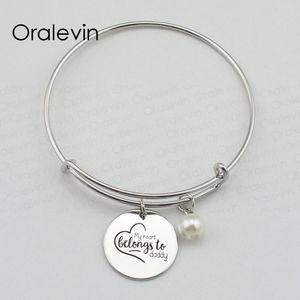 Mon coeur appartient à papa Inspiration à la main estampillé gravé pendentif bracelet femme Bracelet mode bijoux, 10 Pcs / lot, # LN2083B