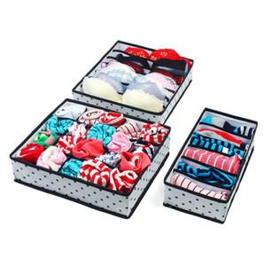 3pcs / set boîtes de rangement sous-vêtements pliables Set Organisation non-tissé Draw Divider conteneur pour cravates Chaussettes Shorts Soutien-gorge