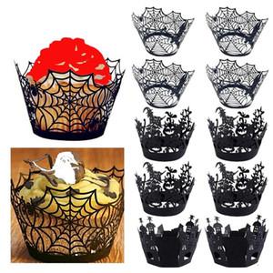 Abóbora de Halloween elenco Padrão Lace Laser Cut Cupcake Invólucro Forro Baking Cup Muffin Para Festa de Aniversário Do Casamento