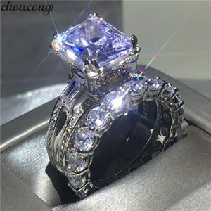 Choucong Torre Eiffel forma anillo 8ct 5A circón Cz 925 plata esterlina anillos de boda de compromiso conjunto para mujeres nupcial bijoux S18101608