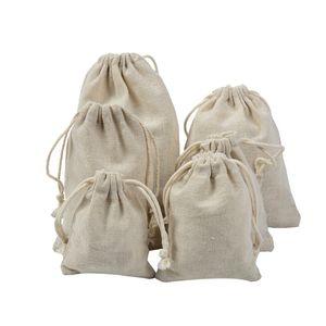 % 100 Doğal Pamuk Çamaşır Favor Tutucu Moda Takı Torbalar Tuval İpli Torbalar Takı PackagingDisplay Çanta Katı Renk
