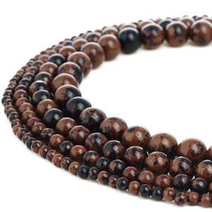 Cuentas de piedra natural Caoba Obsidiana Piedras preciosas Perlas sueltas redondas para hacer joyas de bricolaje 1 hebra 4-10 mm