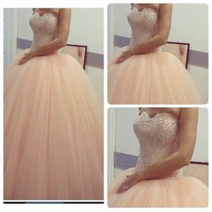 Champagne Tulle Quinceanera Dresses Sweetheat Pageant Ball Gown Girl's Bridal Special Occasion Prom Birthday Bridesmaid Party Dress 17LF532