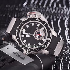 Дешевые Новые 46 мм Maxi Marine Diver 3203-500LE-3/93-HAMMER Черный Циферблат Автоматические Мужские Часы Серебряный Корпус Резиновый Ремешок Спортивные Часы Getns